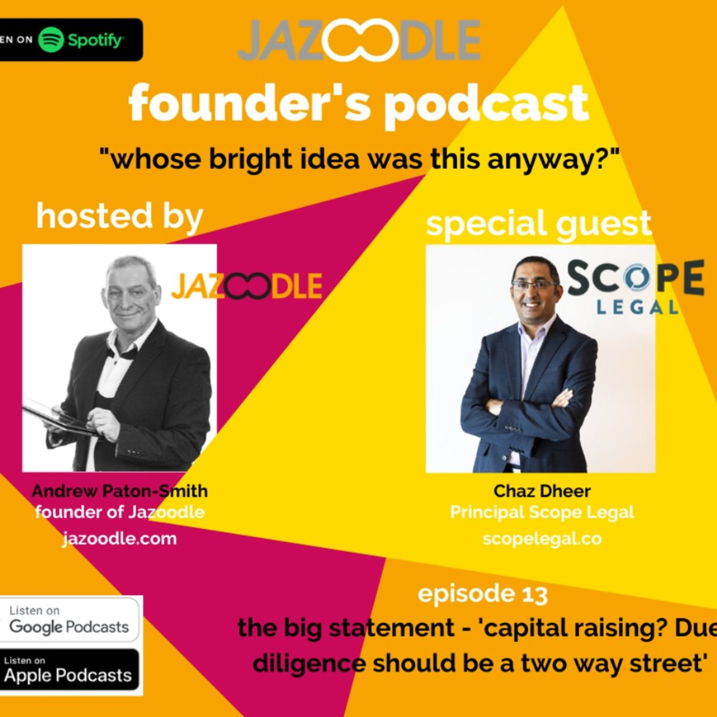 Whose bright idea was this anyway? Episode 13 with special guest and Principal of Scope Legal, Chaz Dheer